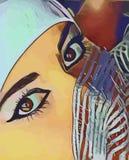 Original vector image of oriental girl. Girl east look eyes original vector image graphic design drawing arab woman beautiful eyes royalty free illustration
