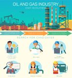 Vector Oil and Gas Industry Staff Recruitment. Search for Candidates. Consultant Construction Drilling Design Fiel Engineer and Drill Operator. Gas and Oil royalty free illustration
