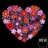 Original vector sakura heart with 3d effect. Royalty Free Stock Photography