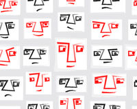 Original Vector Seamless Pattern With Faces. EPS10 Stock Image