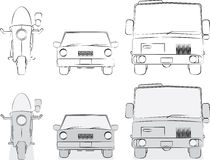 Original vehicles sketches Stock Photography