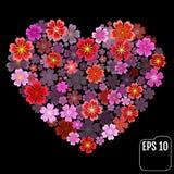 Original- vektorsakura hjärta med effekt 3d Arkivbilder