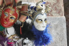 Original Venetian masks handmade in a stand in piazza san marco Royalty Free Stock Photography