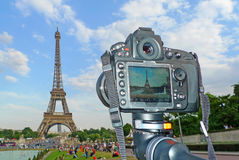 Original view of the Eiffel Tower Royalty Free Stock Photography