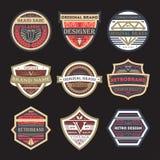 Original vintage brand isolated label set. Premium quality badge, company retro symbol, product identity design, business typography illustration. Creative old Stock Photography