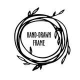 Original vintage frame - hand-drawn wreath. Royalty Free Stock Photo