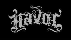 Black and grey havoc. Original vintage grunge script with dirty scratches vector illustration