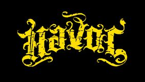 Black and yellow havoc script. Original vintage grunge script with dirty scratches stock illustration