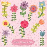 Original vintage hand drawn flowers set Royalty Free Stock Images