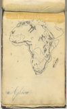 Original vintage map of Africa. An original antique map of Africa. This is the page of an old italian geography notebook, dated nearly 1865 Stock Photo