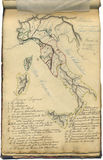 Original vintage map of Italy. An original antique map of Italy. This is the page of an old italian geography notebook, dated nearly 1865 Royalty Free Stock Photo