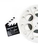 Original vintage movie reel for 35mm film projector with clapper Stock Photography