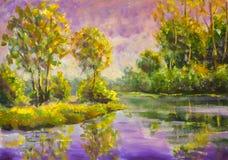 Original- violett varm solnedgånggryning för olje- målning över sjön lantlig sommar för liggande Träd reflekteras i vatten royaltyfri fotografi