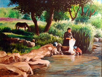 Original Washerwoman painting stock photo