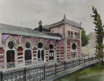 Original watercolor art Sirkeci railway station historic fasade. Of Orien express illustration Stock Photography
