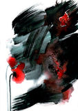 Original watercolor black and white painting with abstract red flower. Royalty Free Stock Image