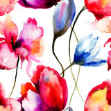 Original watercolor illustration with flowers Stock Photo