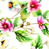 Original watercolor illustration with flowers Stock Photography