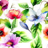 Original watercolor illustration with flowers Royalty Free Stock Photos