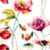 Original watercolor illustration with flowers Royalty Free Stock Image