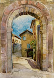 Original watercolor illustration stone gate in Assisi, Italy. Medieval city urban art Stock Images