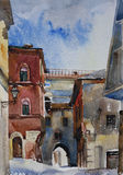 Original watercolor landscape of narrow Bologna medieval street. With old buildings and arches in the sunny day, Italy Royalty Free Stock Image