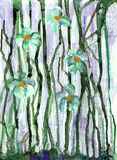 Original watercolor painting. Of blue flowers in spring Stock Illustration
