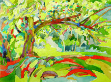 Original watercolor painting by a tree Royalty Free Stock Image