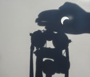 An original way to observe the eclipse. Photo took in Moscow, Russian Royalty Free Stock Photography