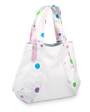 Original white handbag with color applications Stock Images
