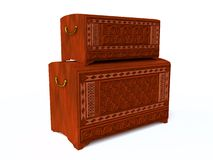 Original Wooden Chests in 3D Stock Photo