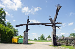 Original wooden farm museum gate Royalty Free Stock Image