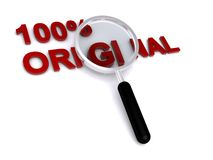 Original word and magnifying glass Stock Images