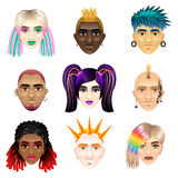 Original youth people faces icons vector set Stock Images