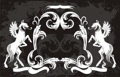 Originale   modello floreale nero con i grifoni Immagini Stock