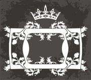 Originale   modello floreale nero con la corona Fotografia Stock