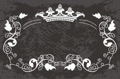 Originale   modello floreale nero con la corona Fotografie Stock