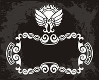 Originale   modello floreale nero con la corona Immagini Stock