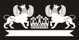 Originale   modello floreale nero con la corona Immagine Stock Libera da Diritti