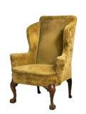 Originale sedia del bracciolo dell'ala ricoperta vecchio oggetto d'antiquariato isolata sul whi Fotografia Stock Libera da Diritti