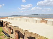 Fort Sumter: Third Level Reproduction. Originally, Fort Sumter had a total of three levels. The first two had gun casements like those in the photograph. The Royalty Free Stock Photography