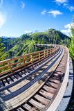 Historic Trestle Bridge at Myra Canyon in Kelowna, Canada. Originally one of 19 wooden railway trestle bridges built in the early 1900s in Myra Canyon, Kelowna Stock Photo
