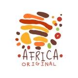 Origineel abstract Afrikaans embleem met krabbelelementen Royalty-vrije Stock Foto's