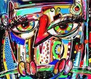 Origineel abstract digitaal het schilderen kunstwerk van krabbeluil vector illustratie