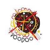 Origineel abstract kleurrijk het malplaatjeontwerp van het Voodoo magisch embleem Traditionele godsdienst en cultuur Mystieke get royalty-vrije illustratie