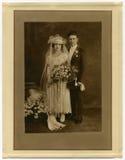 Origineel antiek de fotoHuwelijk van 1925 Royalty-vrije Stock Foto