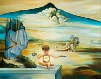 Origineel die olieverfschilderij op Salvador Dali wordt gebaseerd vector illustratie