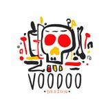 Origineel hand getrokken het ontwerpmalplaatje van het Voodoo magisch embleem met mysticusschedel Traditionele godsdienst en myst stock illustratie