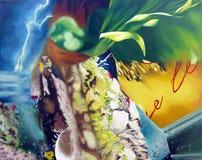 Origineel het schilderen abstract kunstwerk oleo stock foto's