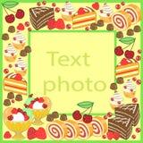 Origineel kader voor foto's en tekst De zoete cakes leiden tot een feestelijke stemming Een perfecte gift voor kinderen en volwas vector illustratie